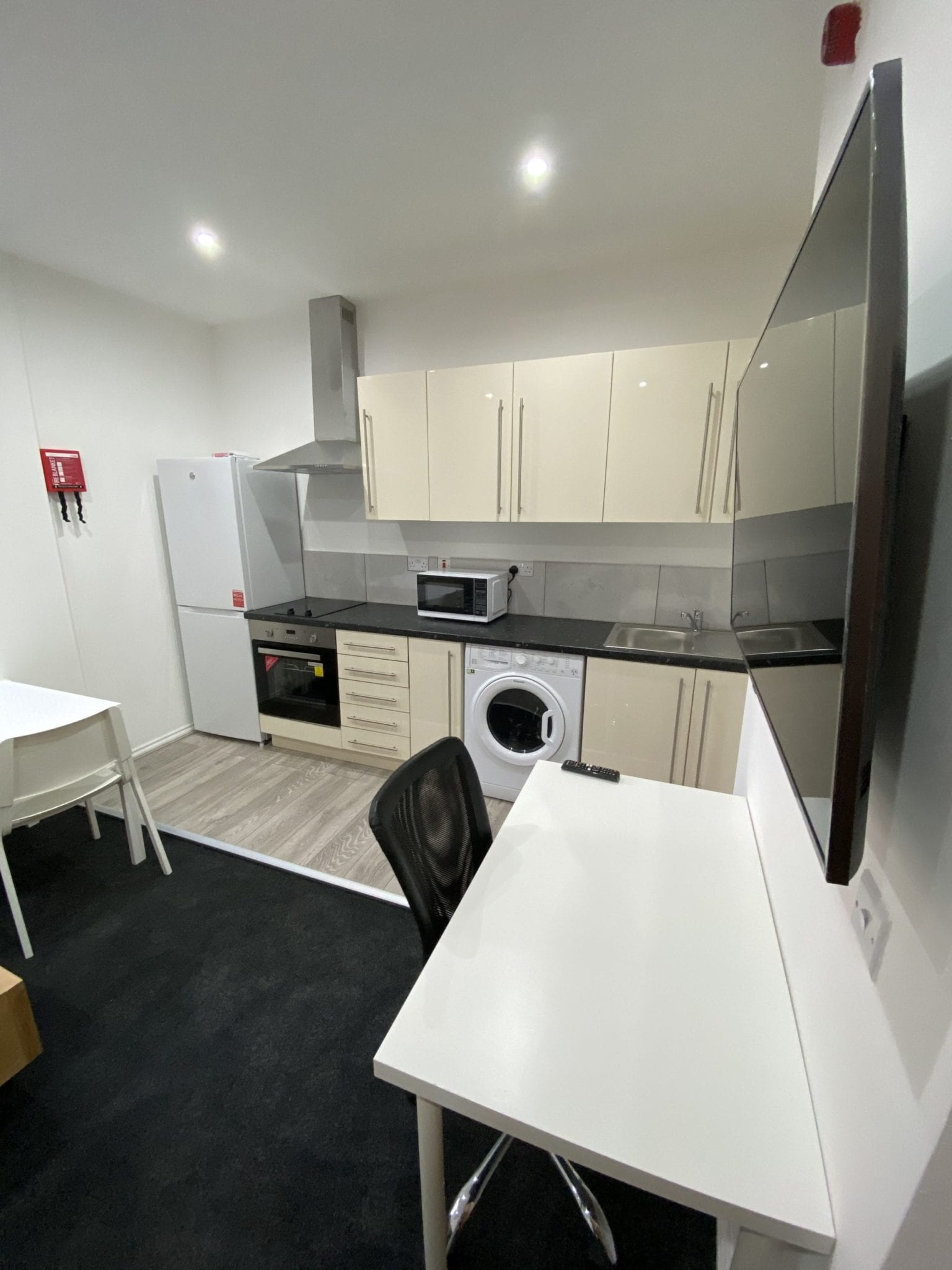 flat kitchen and living area