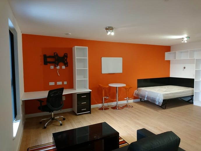 DELUXE STUDIO STUDY AREA AND BEDROOM